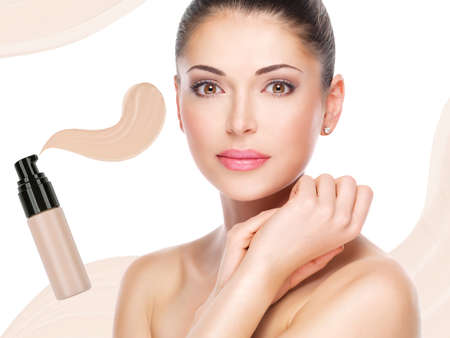 Model face of beautiful woman with foundation on skin make-up cosmetics .   Stock Photo - 23271808