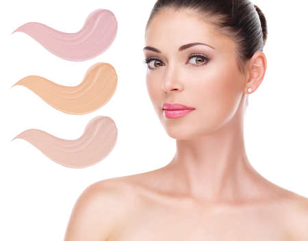 Model face of beautiful woman with foundation on skin make-up cosmetics .   Stock Photo - 23271817