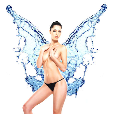 naked girl body: Beautiful sexy woman body with water splash of butterfly shape LANG_EVOIMAGES