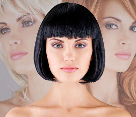 capelli LISCI: Bella donna con acconciatura colpo, primo piano, ritratto di un modello femminile