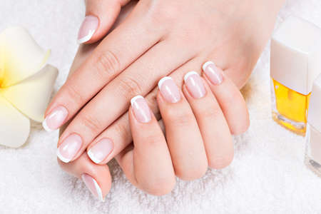 french manicure: Woman in a nail salon receiving manicure by a beautician. Beauty treatment concept.