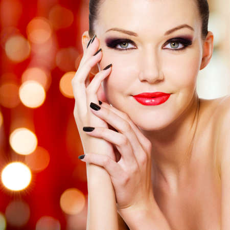 Young beautiful glamour woman with reds lips  photo