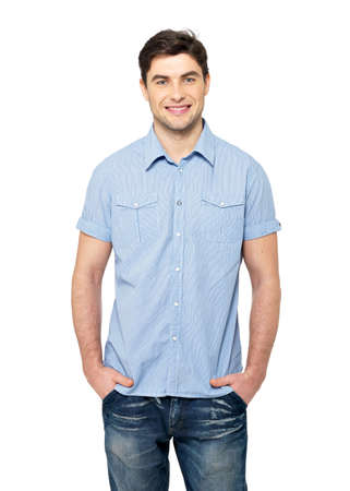 Portrait of smiling happy handsome man in blue casual shirt - isolated on white background Stock Photo - 26723621