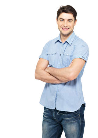 Portrait of smiling happy handsome man in blue casual shirt - isolated on white background Stock Photo - 26723622