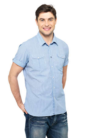 Portrait of smiling happy handsome man in blue casual shirt - isolated on white background Stock Photo - 26723623