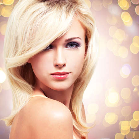 Closeup face of young glamour woman with white hairs over art background Stock Photo - 26256682