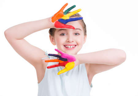 kids painted hands: Smiling cute little girl with painted hands - isolated on white.