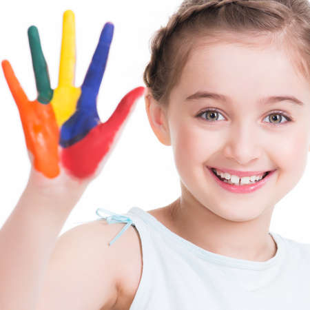 kids painted hands: Happy pretty little girl with painted hands - isolated on white.