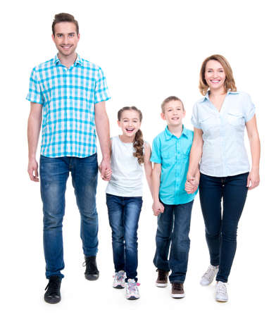 Full portrait of the happy european family with children looking at camera -  isolated on white background Stock Photo - 26678680