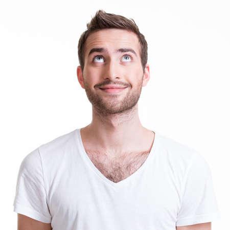 笑顔の幸せな若い男探して - 白で隔離の肖像画。