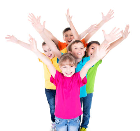 hand colored: Group of smiling children with raised hands in colorful t-shirts standing together. Top view. Isolated on white.