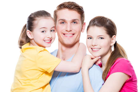 Portrait of the happy european family with child - isolated on white background. photo