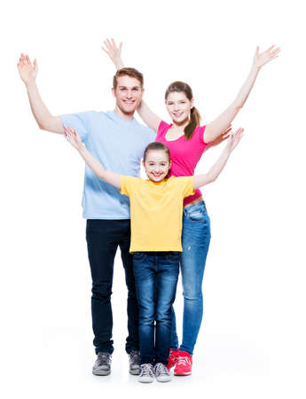 hand colored: Young happy cheerful family with child raised hands up - isolated on white background.
