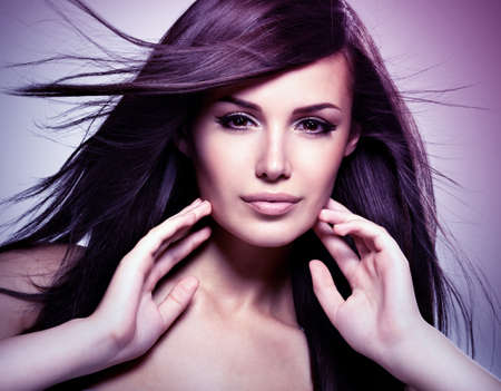 Fashion model  with beauty long straight hair.  Concept image is in tinting colorize style