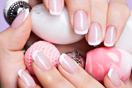 polish: Beautiful womans nails with beautiful french white manicure