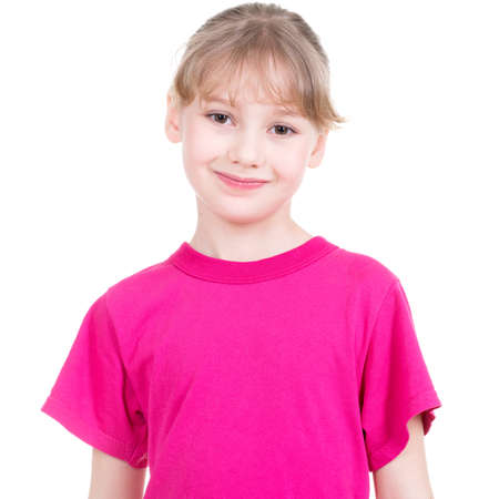 白い背景で隔離のカメラを見て幸せな少女の笑みを浮かべてください。
