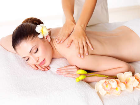 the caucasian beauty: Woman having massage of body in the spa salon. Beauty treatment concept.