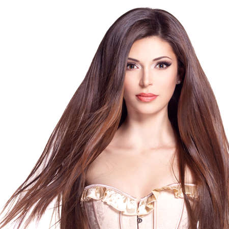 dishevel: Ritratto di una bella bella donna bianca con lunghi capelli lisci