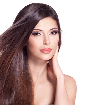 Porträt einer schönen weißen hübsche Frau mit langen glatten Haaren Standard-Bild