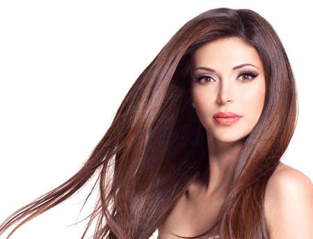 Portrait of a beautiful white pretty woman with long straight hair Foto de archivo