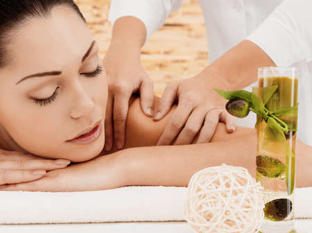 beauty spa: Woman on spa massage of body in the beauty salon.