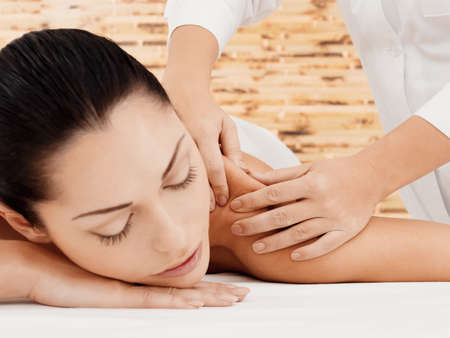 salon and spa: Woman on spa massage of body in the beauty salon.