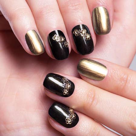 Beautiful woman's nails with beautiful creative manicure