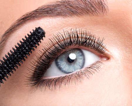 pestaÑas postizas: Ojo femenino con las pestañas falsas largas y pincel de maquillaje - sobre fondo blanco Foto de archivo