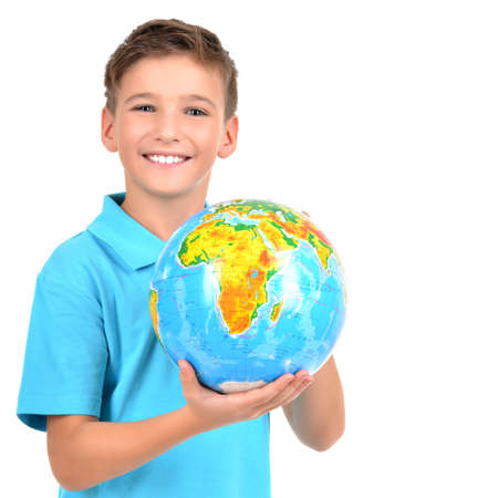 baby isolated: Smiling boy in casual  holding globe in hands  -  isolated on white