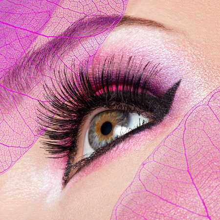 makeup eyes: Closeup female eye with  beautiful fashion bright pink makeup
