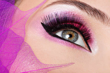 maquillaje de ojos: Ojo femenino del primer con la manera hermosa maquillaje de color rosa brillante