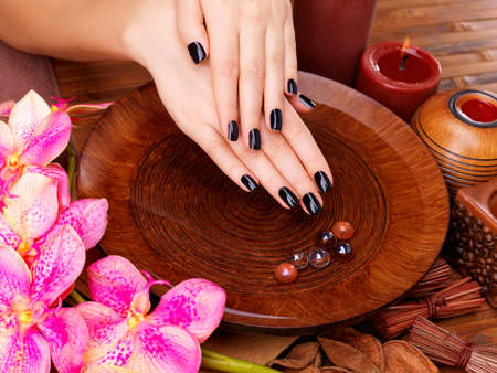 black hands: Beautiful women hands with black manicure after Spa procedures - Spa treatment concept