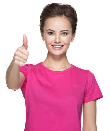thumbs up sign: Portrait of a beautiful adult happy woman with thumbs up sign over white background LANG_EVOIMAGES