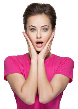 excited woman: Portrait of the surprised emotions  on woman face isolated on white background