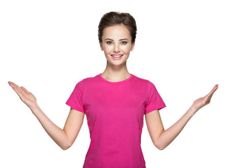 woman hands up: Portrait of young  woman with hands up over white background