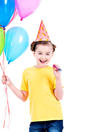 white party: Portrait of happy smiling girl in yellow t-shirt holding colorful balloons - isolated on a white. Stock Photo