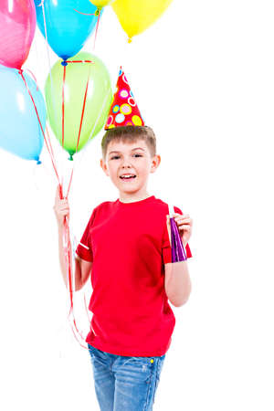 blowers: Happy smiling boy in red t-shirt holding colorful balloons - isolated on a white.