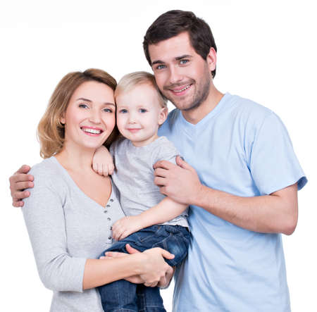 �aucasian: Portrait of the happy family with little child looking at camera - isolated on white background
