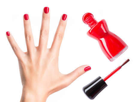 nail polish bottle: Beautiful female hands with red manicure and  nail polish  bottle with  brush