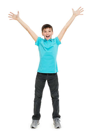 casuals: Young happy teen boy with  in casuals with raised hands up isolated on white background.
