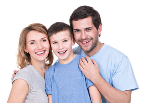 Portrait of the happy parents with son looking at camera - isolated on white background