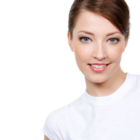 portrait of beautiful smiling young woman with copy space