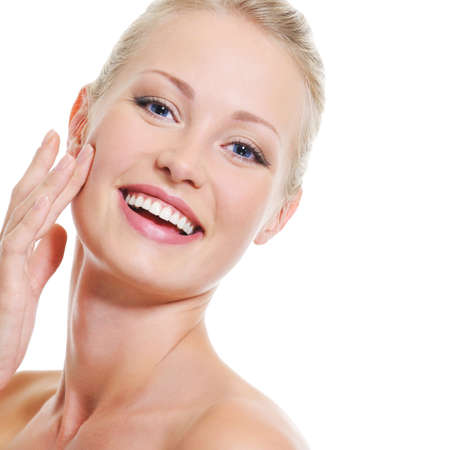 naked woman  white background: Portrait of pretty beautiful woman with healthy clear skin - over white