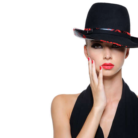 gorgeous woman: Glamour elegant sexy female with gorgeous black hat Stock Photo