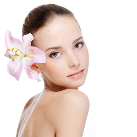skincare of young beautiful woman face - white background photo