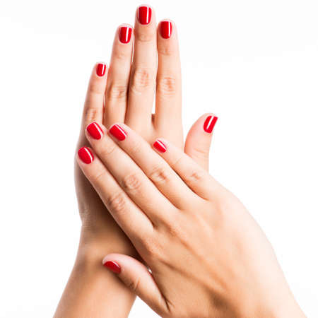 Closeup photo of a beautiful female hands with red nails isolated on white background Stockfoto