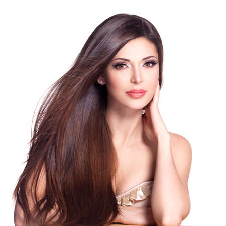 long: Portrait of a beautiful white pretty woman with long straight hair Stock Photo