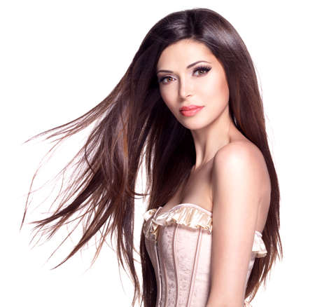 dishevel: Portrait of a beautiful white pretty woman with long straight hair Stock Photo