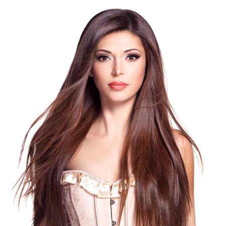 Porträt einer schönen weißen hübsche Frau mit langen glatten Haaren Standard-Bild - 53558952