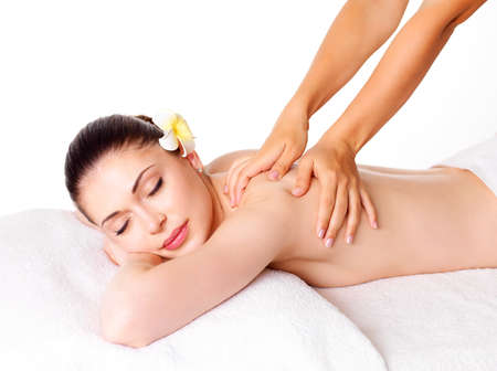 spa woman: Woman having massage of body in the spa salon. Beauty treatment concept.